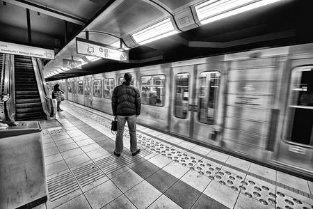 kilometres: BRUXELLES - MAY 1, 2015: Subway station interior. The subway system covers a total of 39.9 kilometres. Editorial