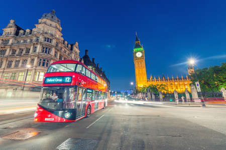 double decker: LONDON - JULY 1, 2015: Double Decker bus in Westminster. London attracts 30 million tourists annually.
