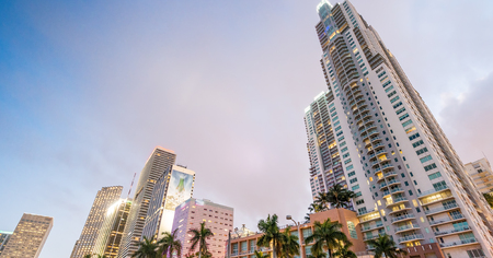 Streets and Buildings of Downtown Miami at night. Stock Photo