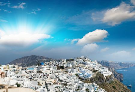 oia: Dusk over Santorini. Oia Village, Greece.