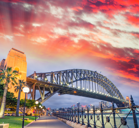 nsw: Sydney Harbour Bridge with a beautiful sunset, NSW - Australia.