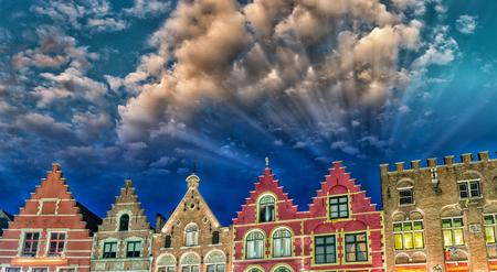 bruges: Homes of Brugge. Bruges skyline, Belgium. Stock Photo
