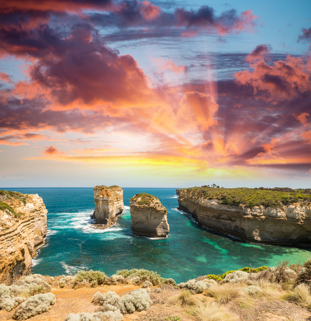 ard: Great Ocean Road, Australia. Aerial view from Razorback panoramic viewpoint. Stock Photo