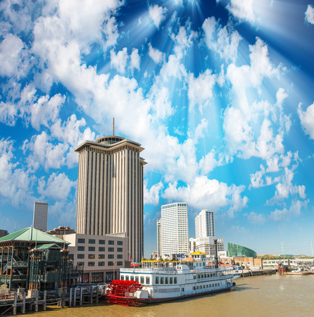 docked: Steamboat docked in New Orleans, Lousiana. Stock Photo