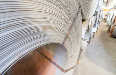 alloy: Top view of the stock rolls of sheet steel of company.