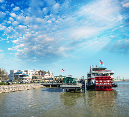 docked: Docked steamboat in New Orleans