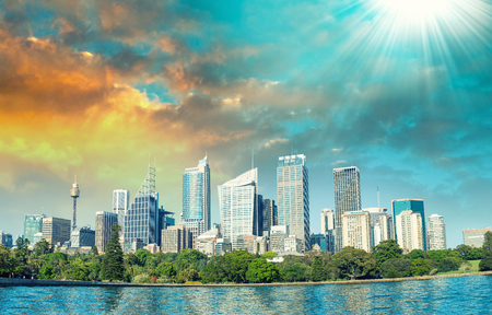 nsw: Beautiful panoramic skyline of Sydney, NSW - Australia. Stock Photo