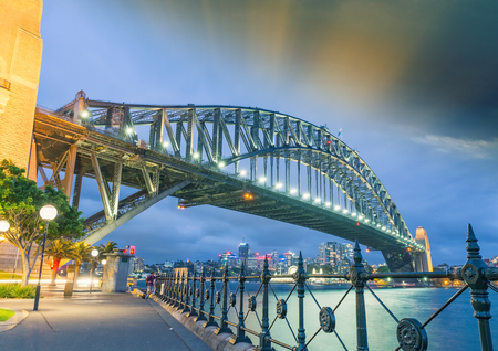 new south wales: Sydney, New South Wales. Amazing sunset view of Harbour Bridge. Stock Photo