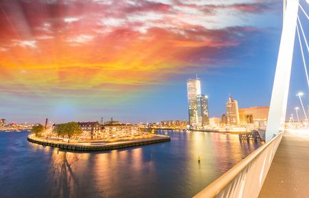 rotterdam: Rotterdam night skyline, Netherlands. Stock Photo