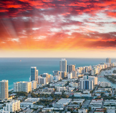 oceanfront: Miami Beach, Florida. Beautiful aerial skyline at sunset. Stock Photo