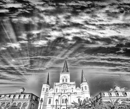 jackson: Black and white view of Jackson Square at dusk, New Orleans.
