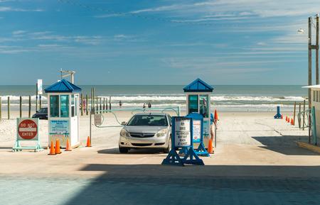 Daytona Beach road entrance. The popular spring break destination is dubbed Worlds Most Famous Beach. Stock Photo