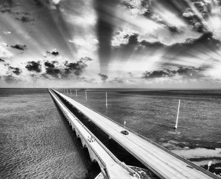 key of paradise: Sunset over Keys Bridge, Florida.