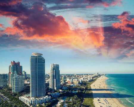 oceanfront: Miami Beach skyline at dusk. Aerial view. Stock Photo