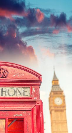 cabina telefonica: cabina de tel�fono p�blico de Londres con el Big Ben.