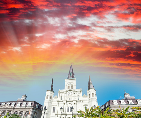 jackson: Sunset sky over Jackson Square in New Orleans, Louisiana.