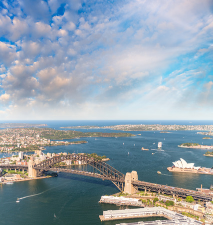 Sydney Harbour Bridge. Aerial view from helicopter on a beautiful day.