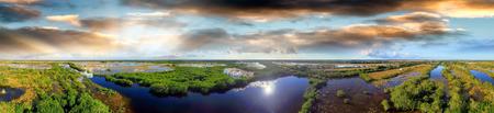 sawgrass: Panoramic aerial view of Everglades, Florida. Stock Photo