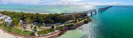 natural bridge state park: Bahia Honda state park aerial view, Florida. Stock Photo