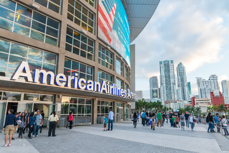 american airlines: MIAMI - JANUARY 12, 2016: American Airlines Arena stadium at sunset. It is home to National Basketball Association team the Miami Heat.