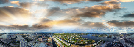 ft lauderdale: Fort Lauderdale canals, aerial view at sunset. Stock Photo