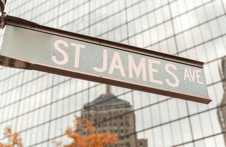 ave: St James Ave sign, Boston. Stock Photo