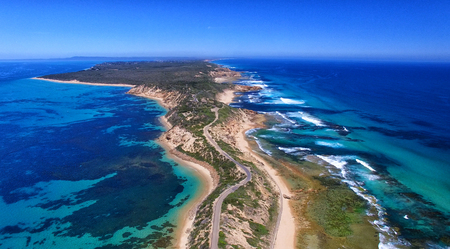 victoria park: Fort Nepean road as seen from helicopter, Australia. Stock Photo