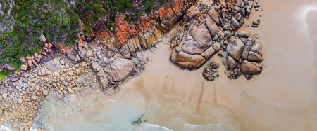 wilsons promontory: Wilsons Promontory famous beach, Victoria from the air, Australia. Stock Photo