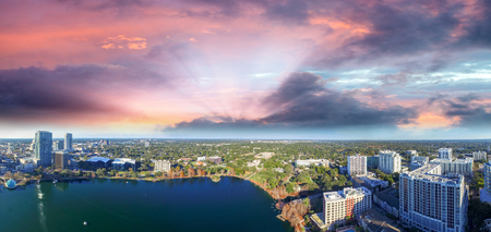 Beautiful sunset aerial view of Downtown Orlando.