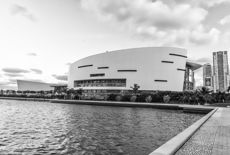 american airlines: MIAMI - JANUARY 12, 2016: American Airlines Arena stadium at sunset. American Airlines arena has a maximum capacity of 19,600.
