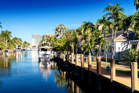 Canals of Fort Lauderdale, Florida. 免版税图像