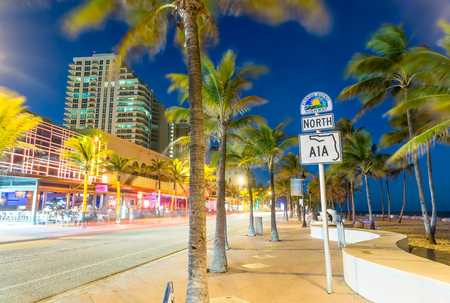 Beautiful seafront of Fort Lauderdale at night. City lights after sunset. Reklamní fotografie