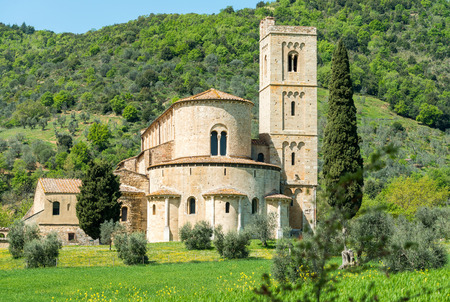 antimo: Abbey of SantAntimo among the hills of Tuscany, Italy.