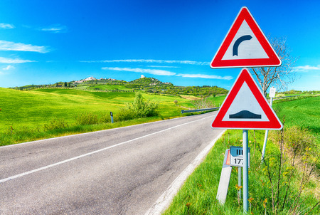 street signs: Road signs on Tuscany countryside.