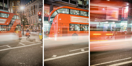 Red Buses speeding up on London streets at night.