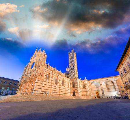 siena: Siena, Italy. Piazza del Duomo. City Dome. Stock Photo