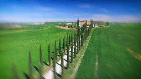 agriturismo: Aerial view df agriturismo, Tuscany in spring time - Italy. Stock Photo