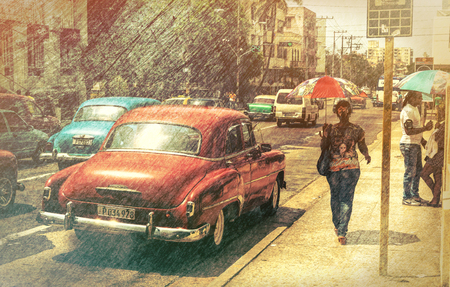 HAVANA, CUBA - APRIL 7, 2016: Old classic American cars rides in city streets. Before a new law issued on October 2011, cubans could only trade cars that were on the road before 1959.