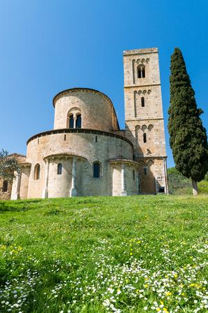 sant'antimo: SantAntimo Abbey, Tuscany - Italy. Stock Photo