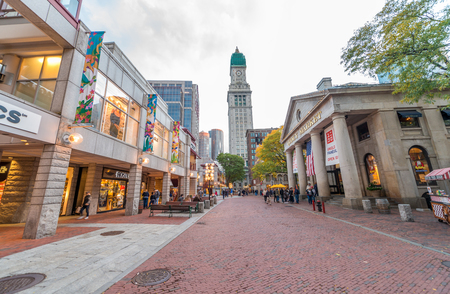boston tea party: BOSTON, MA - OCT 17: A crowd of tourists and locals at Faneuil Hall, rated number 4 in Americas 25 Most Visited Tourist Sites by Forbes Traveler in 2008. As seen on October 17, 2015 in Boston, MA. Editorial