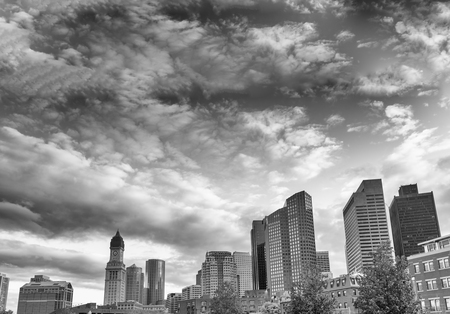 north end: City panoramic view from North End Park - Boston, MA. Stock Photo