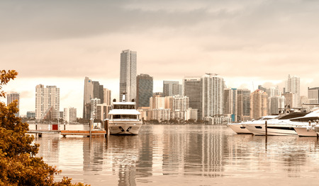 Miami skyline on a cloudy day from Rickenbacker Causeway - FL, USA.