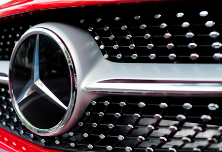 benz: TOKYO - JUNE 1, 2016: Mercedes Benz logo close-up. Mercedes-Benz is a German automobile manufacturer. Editorial