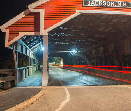 river county: Wooden Bridge at night in Jackson, NH.