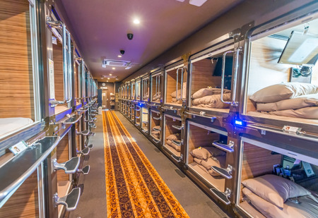 TOKYO - JUNE 1, 2016: Interior of capsule hotel in city center. Capsule Hotels are less expensive structures very famous in Tokyo.