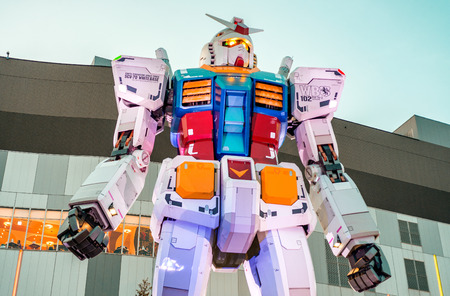 18 19: TOKYO - MAY 19, 2016: The 1:1 scale mobile suit Gundam RX78-2 which is 18 metres high from Mobile Suit Gundam. It is located in front of the Diver City to present the Gundam Front, Tokyo.