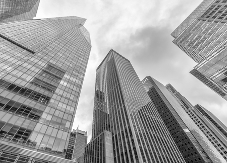 Black and white view of office buildings. Corporate concept. Stock Photo