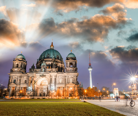 dom: Berlin cathedral at night, Berliner Dom - Germany.