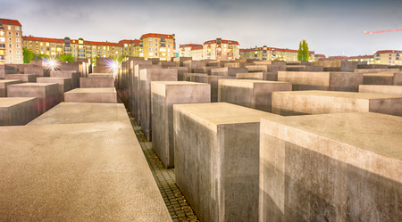 holocaust: BERLIN, GERMANY - OCT 17, 2013: View of Jewish Holocaust Memorial at night, Berlin, Germany.