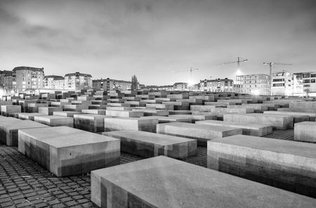 murdered: BERLIN, GERMANY - OCT 17, 2013: View of Jewish Holocaust Memorial at night, Berlin, Germany.